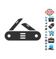swiss multitool knife icon with free bonus vector image vector image