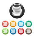 tire fitting icons set color vector image vector image