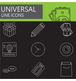 universal line icons set web outline sign vector image