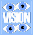 vision label or banner with white letters and two vector image vector image