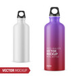 white metal water bottle template vector image vector image