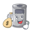 with money bag steel trash can with lid cartoon vector image