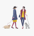 young girls walking with dogs colorful flat vector image