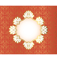 Vintage frame on damask background vector image