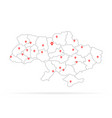 simple thin line ukraine with red map pin vector image