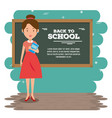 back to school teacher teaching to her students vector image