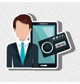 businessman with smartphone isolated icon design vector image