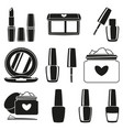 11 black and white makeup silhouette elements vector image vector image