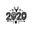 2020 merry christmas calligraphy template vector image