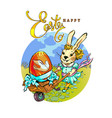 a fashionable rabbit rolls a vintage cart vector image