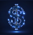 abstract neon symbol of dollar with circuit board vector image vector image