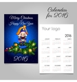 Calendar for 2016 with vintage toy soldier in blue vector image