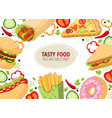 cartoon flat fast food template isolated vector image vector image
