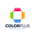colorful health logo designs concept plus logo vector image vector image