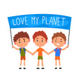 cute boys holding banner with inscription love vector image vector image