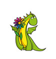 cute little dragon with flower vector image vector image
