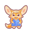 cute stylish dressed female fennec fox funny vector image
