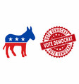 democratic donkey icon with scratched vote vector image vector image