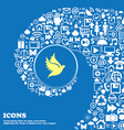 Dove sign symbol Nice set of beautiful icons vector image