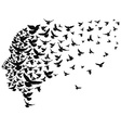 doves flying away with human head vector image vector image