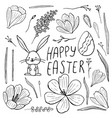 easter set isolated hand-drawn crocuses bunny vector image vector image