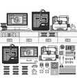 equipment for 3d printing tools line monochrome vector image