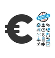 Euro Flat Icon with Bonus vector image