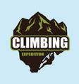 extreme rock climbing logo template vector image