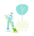 farmer character in overalls working in garden vector image