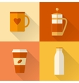 Flat coffee icons set vector image vector image