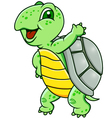 funny green turtle vector image vector image