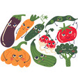 funny vegetable characters set eggplant carrot vector image vector image