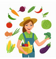 girl farmer and various vegetables in flat cartoon vector image vector image