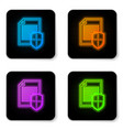 glowing neon document protection concept icon on vector image vector image