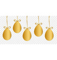 gold easter eggs with shape isolated on vector image vector image