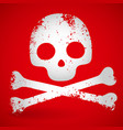 grungy carton skull over red opacity mask eps10 vector image