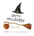 halloween design with witches broom and hat vector image vector image