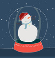 happy snowman in snow globe during winter vector image vector image
