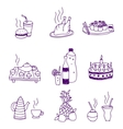icons of food and drinks vector image