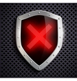 metal shield with a digital sign ban vector image vector image