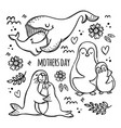 mothers day party monochrome cartoon vector image