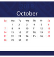 october 2018 calendar popular blue premium for vector image vector image