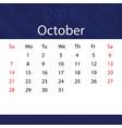 october 2018 calendar popular blue premium vector image vector image