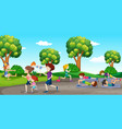 people exericing in the park vector image vector image