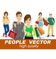 people with shopping people vector image vector image