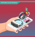 portable electronics isometric composition vector image vector image