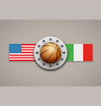 premium basketball label with team flag vector image vector image