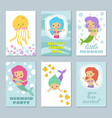 pretty baby mermaids birthday greeting card vector image