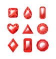 realistic detailed 3d red jewels set vector image