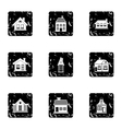 Residence icons set grunge style vector image vector image